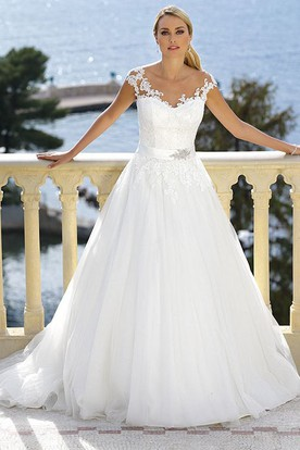 Floor-Length V-Neck Appliqued Jeweled Tulle Wedding Dress