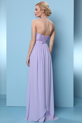 Floor-Length Appliqued Sweetheart Sleeveless Chiffon Bridesmaid Dress