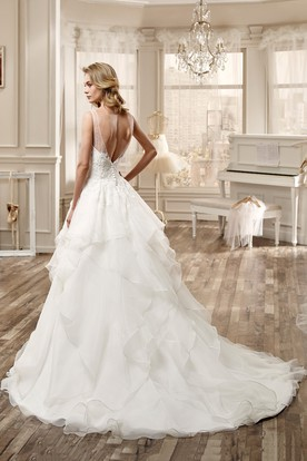 Jewel-Neck High-Low Wedding Dress With Cascading Ruffles And Beaded Bodice