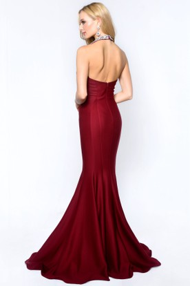 Mermaid Long Halter Sleeveless Jersey Backless Dress With Beading