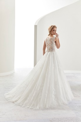V-Neck A-Line Brush-Train Bridal Gown With Illusive Lace Back And Cap Sleeve
