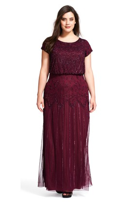 Sheath Scoop-Neck Short-Sleeve Chiffon Plus Size Bridesmaid Dress With Sequins And Zipper