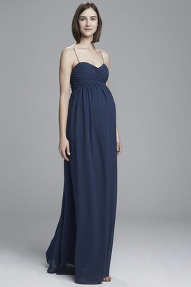 Ruched Spaghetti Empire Sleeveless Chiffon Bridesmaid Dress