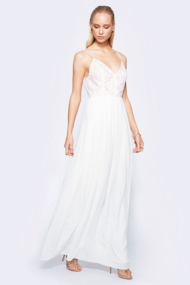 Spaghetti Ankle-Length Lace Chiffon Wedding Dress With V Back
