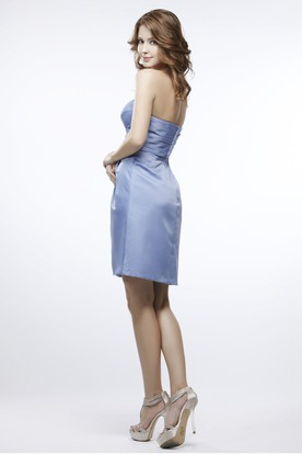 Short Ruched Strapless Satin Bridesmaid Dress