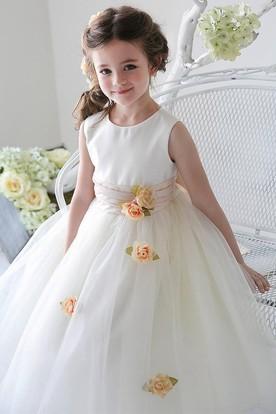 Tea-Length Split-Front Tulle&Sequins Flower Girl Dress