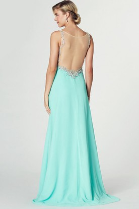 Sleeveless Criss-Cross Bateau Neck Chiffon Prom Dress