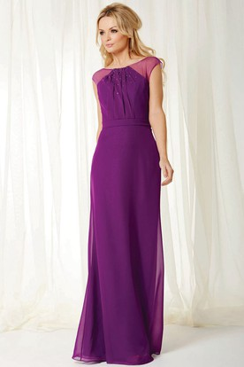 Bateau Neck Beaded Sleeveless Chiffon Bridesmaid Dress With Keyhole