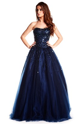 Maxi Strapless Beaded Tulle Prom Dress With Sequins And Corset Back