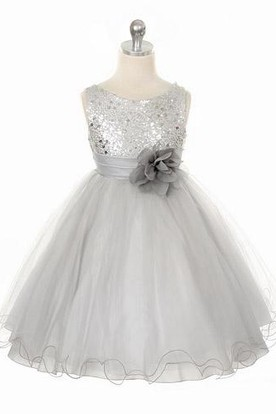 Tea-Length Floral Floral Sequins&Satin Flower Girl Dress With Ribbon