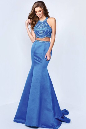 Mermaid Maxi Jewel-Neck Sleeveless Satin Straps Dress With Beading