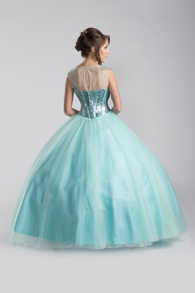 Tulle A-Line Sleeveless Ball Gown With Sequined Bodice And Keyhole Back