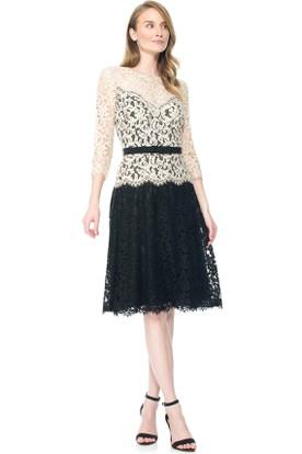 Midi Jewel 3-4-Sleeve Lace Cocktail Dress