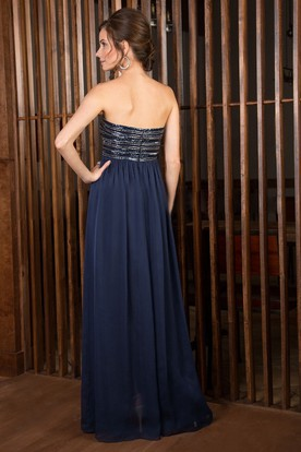 Strapless A-Line Gown With Shawl And Beaded Bodice