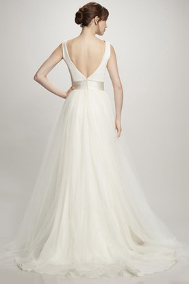 A-Line Long Scoop Sleeveless Satin&Tulle Wedding Dress With Low-V Back And Court Train