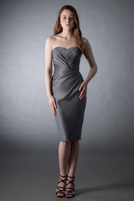 Pencil Knee-Length Ruched Sleeveless Sweetheart Satin Bridesmaid Dress