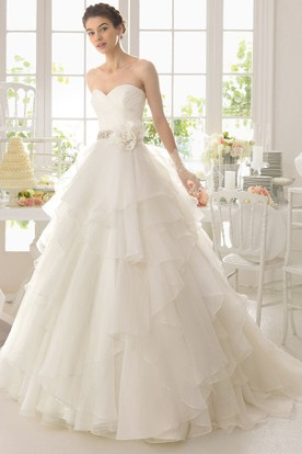 Ball Gown Sweetheart Floor-Length Chiffon Wedding Dress With Criss Cross And Cascading Ruffles