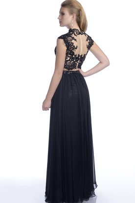 A-Line Chiffon Cap Sleeve Gown With Lace Bodice And Pleats