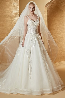 V-Neck A-Line Bridal Gown With Fine Appliques Details And Spaghetti Straps