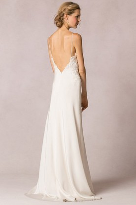 Sheath Floor-Length Spaghetti Sleeveless Wedding Dress