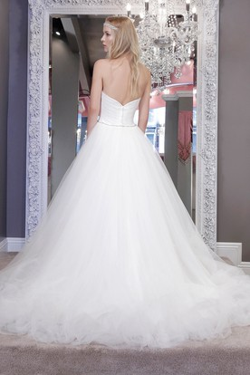 Ball Gown Jeweled Sweetheart Tulle Wedding Dress With Criss Cross