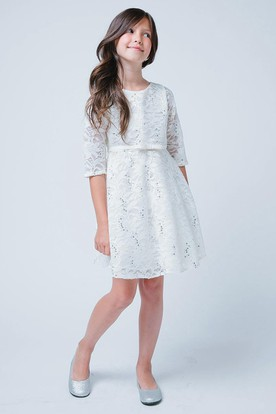 Bowed Tiered Lace&Sequins Flower Girl Dress With Ribbon