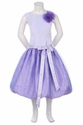 Tea-Length Sleeveless Organza&Satin Flower Girl Dress