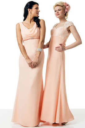 Cowl-Neck Long-Sleeveless Chiffon Bridesmaid Dress With V Back