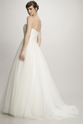 A-Line Jeweled Floor-Length Sweetheart Tulle Wedding Dress With Ruching And Brush Train
