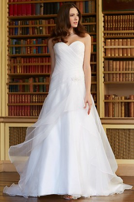 A-Line Sweetheart Sleeveless Floor-Length Criss-Cross Organza Wedding Dress With Draping