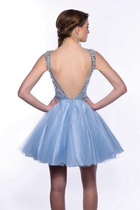 Deep V-Back Sleeveless A-Line Mini Tulle Homecoming Dress With Crystal Detailed Bodice