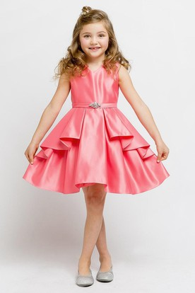 Split Knee-Length Beaded Split-Front Satin Flower Girl Dress With Ribbon