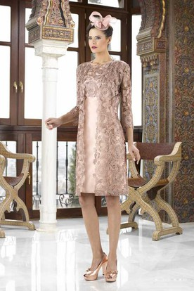 Knee-Length 3-4 Sleeve Bateau Neck Appliqued Satin Mother Of The Bride Dress