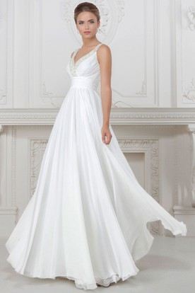Sheath V Neck Floor Length Sleeveless Ruched Satin Wedding Dress With Beading