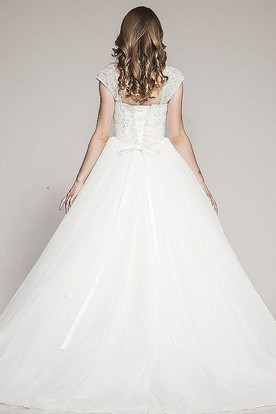 Ball Gown Cap-Sleeve Floor-Length Tulle Wedding Dress With Beading And Corset Back