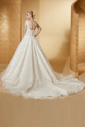 Angel Sweetheart A-Line Appliques Gown With Lace Straps And Brush Train