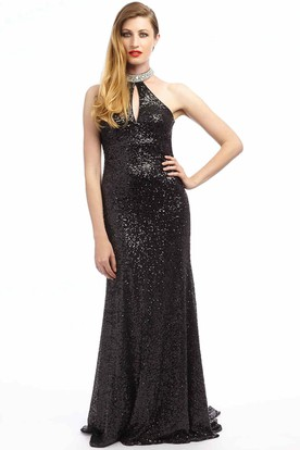 Sheath Sleeveless Beaded Long High-Neck Sequins Prom Dress