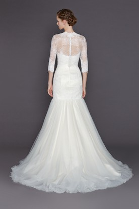 A-Line High Neck 3-4-Sleeve Long Tulle&Lace Wedding Dress With Appliques And Illusion