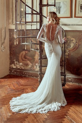 Long-Sleeve Lace Wedding Dress With Low-V Neck and Illusive Back