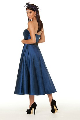 Tea-Length Strapless Ribboned Satin Bridesmaid Dress With Waist Jewellery