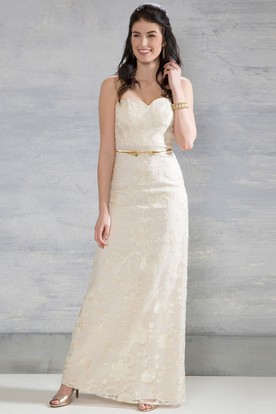 Sheath Sweetheart Floor-Length Lace Wedding Dress With Appliques And Zipper
