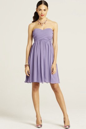 Mini Sleeveless Ruched Sweetheart Chiffon Bridesmaid Dress With Bow