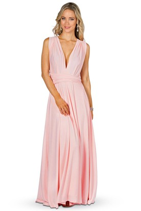 Sleeveless Long V-Neck Chiffon Convertible Bridesmaid Dress With Straps