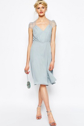 V-Neck Knee-Length Cap-Sleeve Chiffon Bridesmaid Dress With Illusion