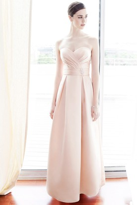 Ankle-Length Sleeveless Sweetheart Ruched Satin Bridesmaid Dress With Broach