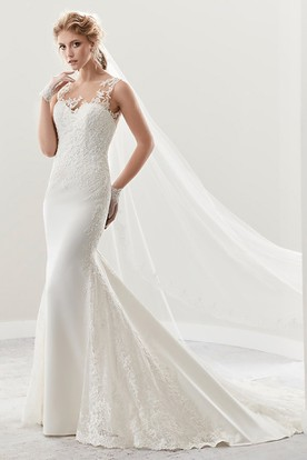 Illusion Cap Sleeve Sheath Lace Bridal Gown With Liques And Open Back
