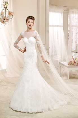 Long-sleeve Illusive Sheath Wedding Dress with Mermaid Style and Appliques