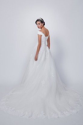 206539ede7 Ball Gown Long V-Neck Tulle Lace Wedding Dress With Appliques And Corset  Back