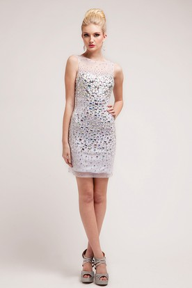 Pencil Short Bateau Sleeveless Dress With Crystal Detailing