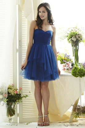 Mini A-Line Sleeveless Criss-Cross Sweetheart Tulle Bridesmaid Dress